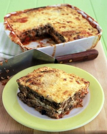 This shortcut version of eggplant parmesan skips the breading-and-frying step. Simply roast the sliced eggplant and layer in a baking dish with egg-enriched ricotta, store-bought marinara sauce, and Parmesan cheese.