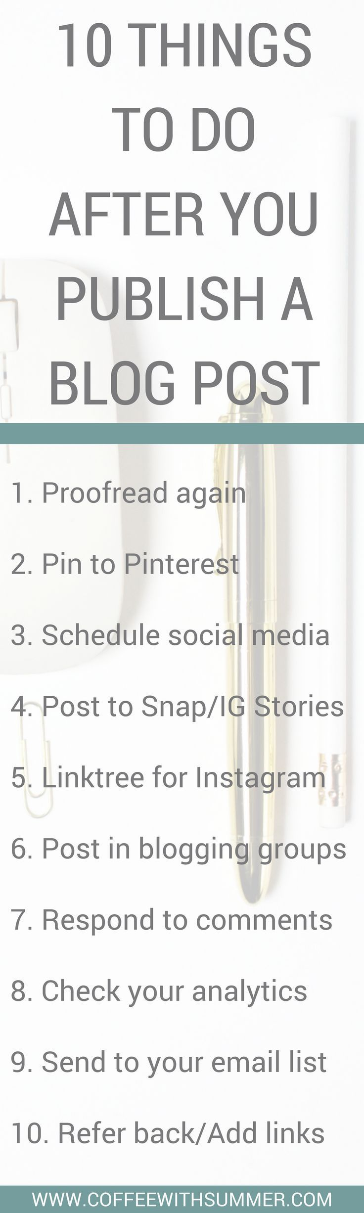 A checklist of what to do after you publish a NEW blog post!