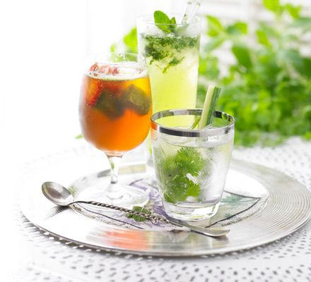 Mojito Mocktail I would add kiwi  1 tbsp sugar small bunch mint juice of 3 limes soda water with blueberries hmm yum