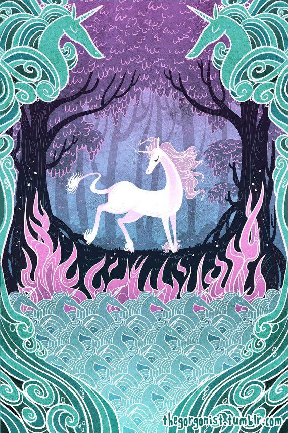 She is the Last 8x12 unicorn art print by theGorgonist on Etsy #TheLastUnicorn