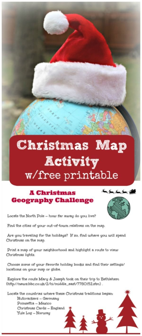 Christmas around the World game - FREE printable Map Activity & geography challenge!  Great for kids, teens & adults