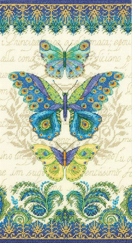 Peacock Butterflies Cross Stitch Kit - £25.25 on Past Impressions | by Dimensions
