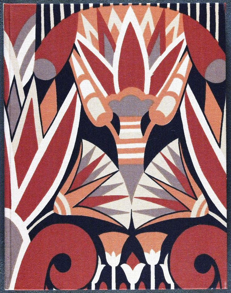 """Art deco textile design; book lining paper, """"The Circus of Dr. Lao"""" by Charles G. Finney."""