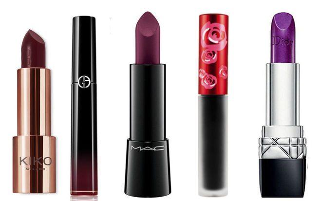 Intensivo Lavish Lipstick, de Kiko Milano; Ecstasy Laquer, de Giorgio Armani; Labradorable, de MAC Cosmetics; Black Velvet, de Lime Crime; Mauve Mystére, de Dior