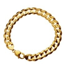 10k Yellow Gold 11mm Curb Chain Men's Bracelet, 9""