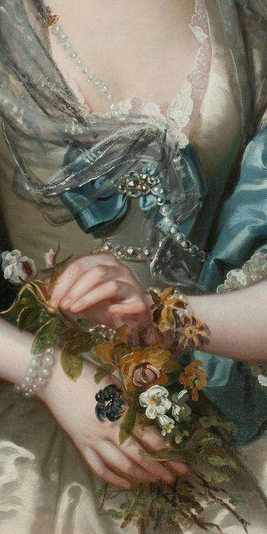 Franz Van Der Mijn 1719-1783 Portrait of a Lady--Detail
