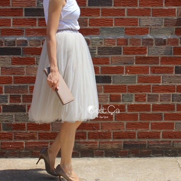 "Claire Dove Gray Tulle Skirt - Length 26"" Shop: CestCaNY.com"