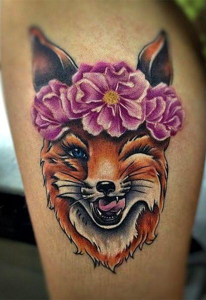 Татуировка с изображением лисы.
