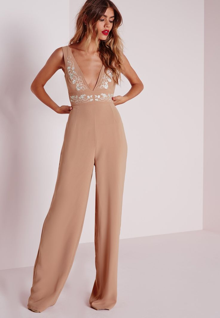 Missguided - White Embroidery Jumpsuit Nude