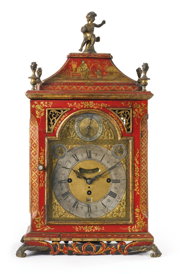 A Dutch rococo ormolu-mounted red and gilt japanned musical clock circa 1740   Sotheby's