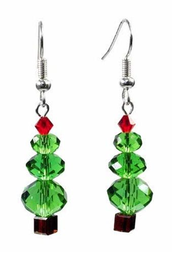 Christmas Tree Crystal Earrings - Instructions Here: http://www.primabead.com/Christmas-Tree-Crystal-Earrings-P7226.aspx?source=pinterest