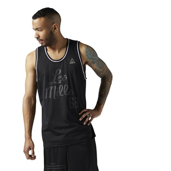 Reebok - LES MILLS Mesh Basketball Tank: This all-over mesh tank from LES MILLS is M.V.P. worthy. With its retro styling and traditional silhouette, this basketball tank provides a comfortable fit for basketball or gym sessions. Great to pair with the LES MILLS mesh basketball shorts.