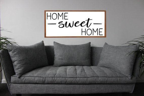 HOME SWEET HOME Sign | Framed Home Sweet Sign | Above Couch Sign | Living Room Sign | Farmhouse Home | New Home Gift | Farmhouse Home Decor