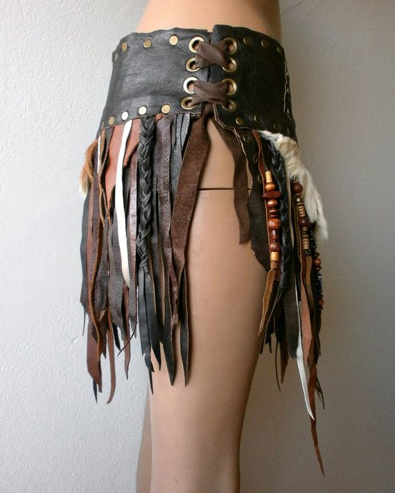Dream Warriors brown leather skirt with fur by DreamWarriors