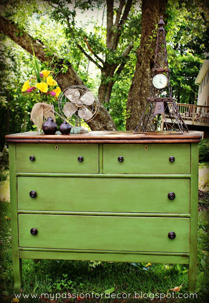 Green dresser (stained top, DIY chalk paint, dark wax)