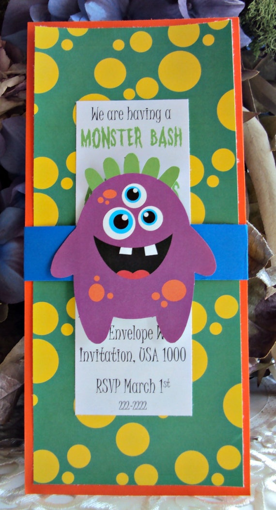 Monster Party invitation Monster Bash by TooCuteInvites on Etsy, $25.00