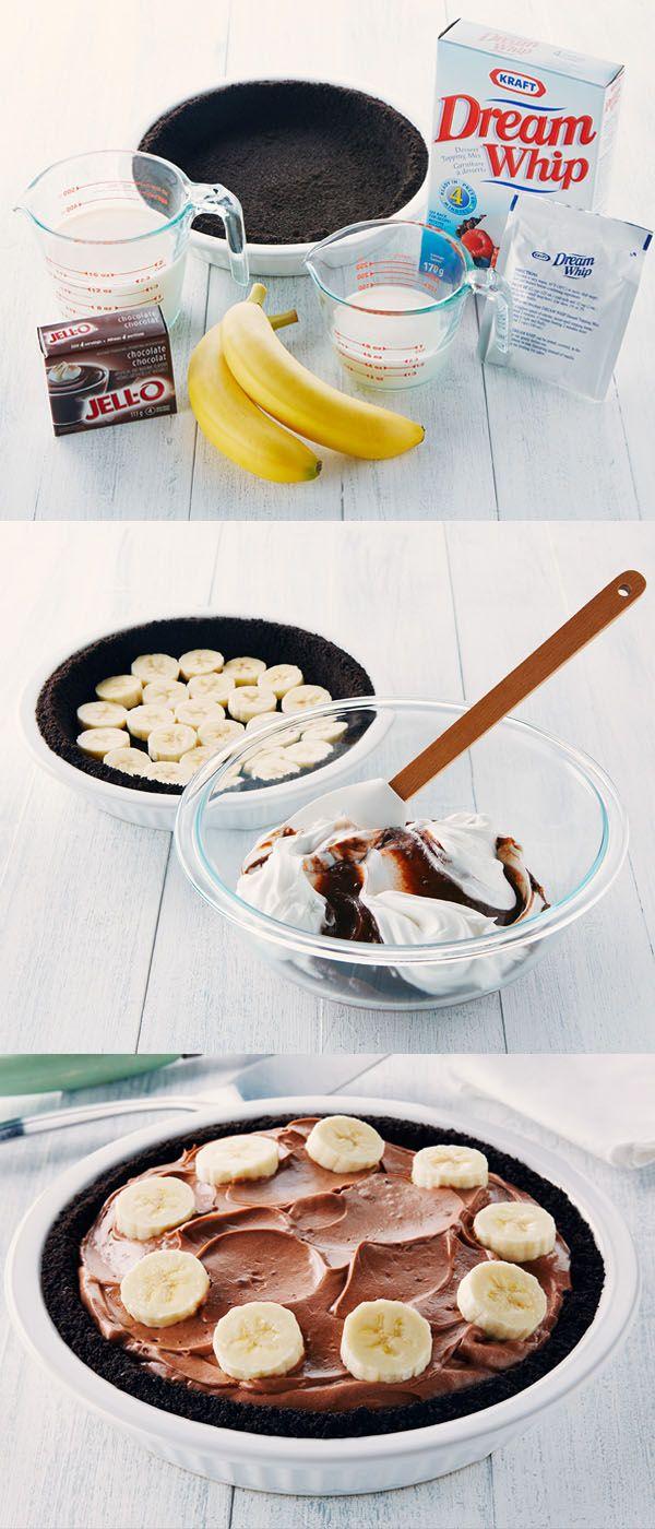 Tarte au pouding au chocolat et à la banane - Une tarte crémeuse, succulente et si facile à faire !