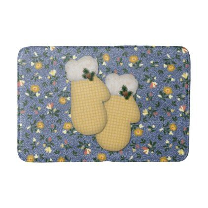 Yellow Mittens Christmas Bath Mat  $32.00  by MouseCottage  - cyo diy customize personalize unique