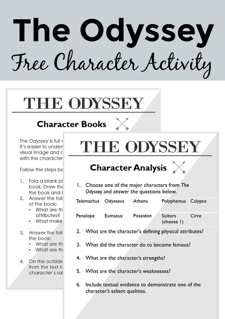 FREE Character Activity for Homer's The Odyssey | Free High School
