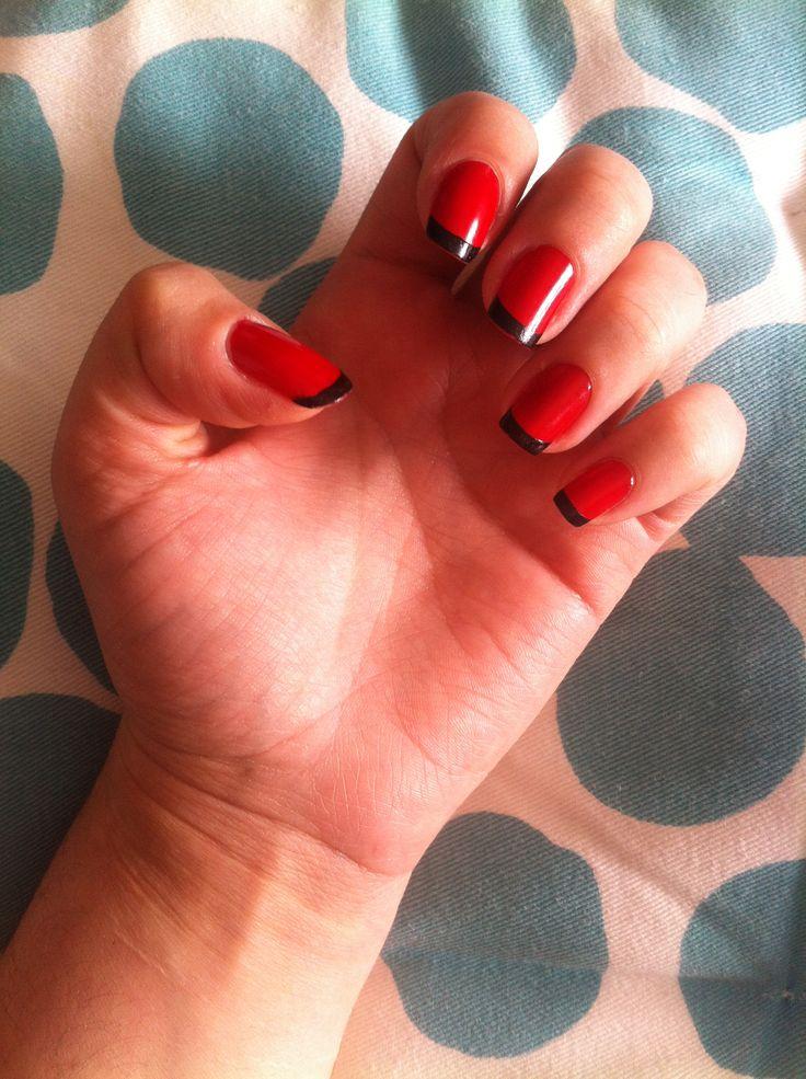 Uñas Francesas en rojo y negro