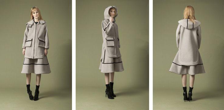hooded bomber coat , terry midi skirt