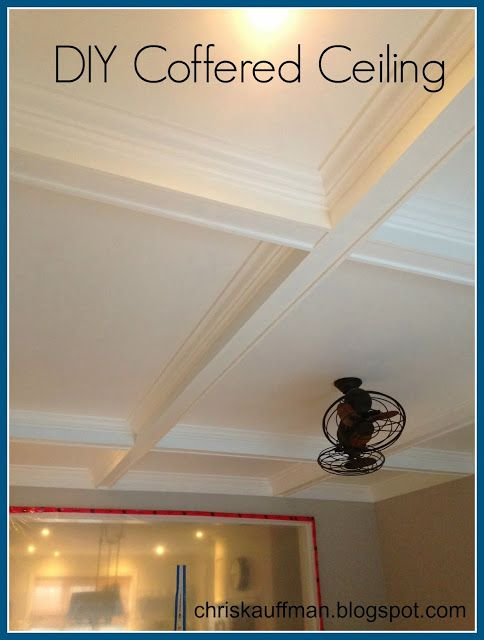 chriskauffman.blogspot.ca: My DIY coffered ceiling. Love the fan!