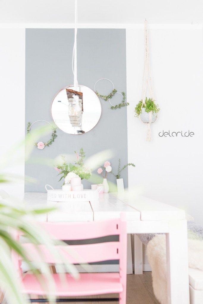 DIY Wand Wohnzimmer Essecke Eukalyptus Eukalyptusring Spiegel