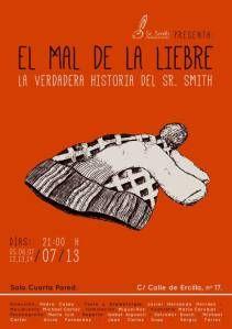 """Cartel de """"El mal de la liebre"""" #teatro #elmaldelaliebre #teatromadrid #festivalfringe"""