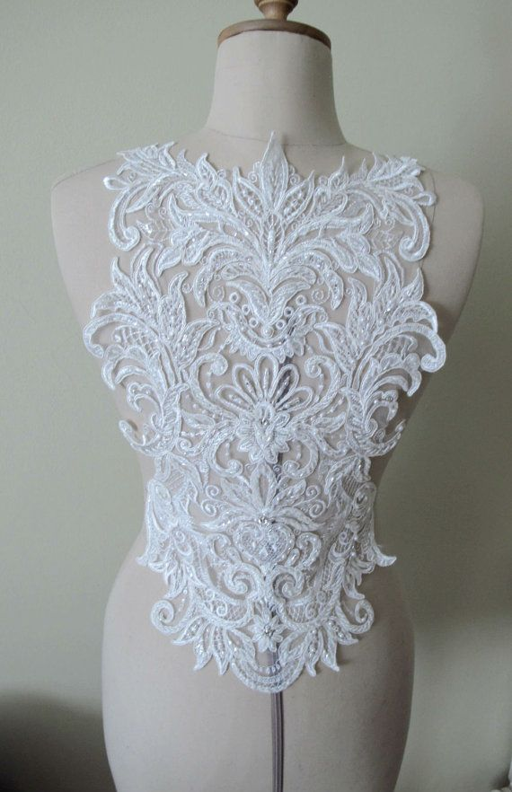 Ivory or White Beaded Applique for Backless Gown Open by gebridal