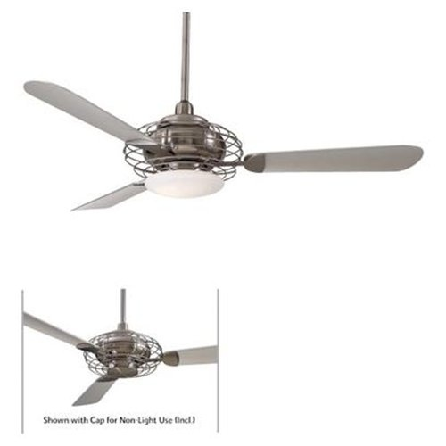 """$369.95 52"""" Acero Retro Ceiling Fan in Brushed Steel and Brushed Nickel"""