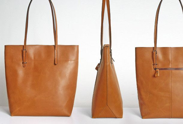 Handmade Leather Coffee Brown camel tote bag shopper bag for women lea | EverHandmade