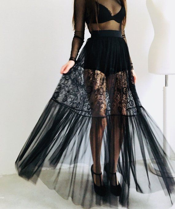 8481e59addc1 Black lace skirt, long tulle skirt, transparent skirt, overskirt, gothic  skirt, sheer skirt, mesh skirt, sexy maxi skirt, hight waist skirt in 2019  ...