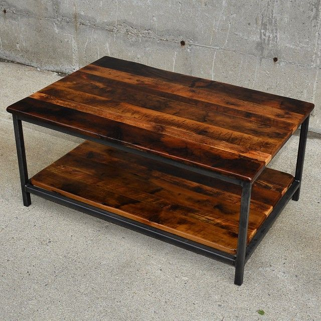 Square Steel Coffee Table with Shelf. Made of Reclaimed Wood & an Epoxy Finish. www.lushwoodcraft.ca