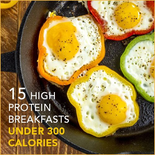 These 15 delicious breakfast recipes are loaded with protein to fill you up and boost your energy but under 300 calories as to not weigh you down.