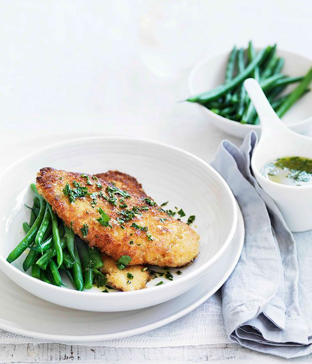 Australian Gourmet Traveller fast recipe for crumbed chicken with lemon, garlic and herb butter.