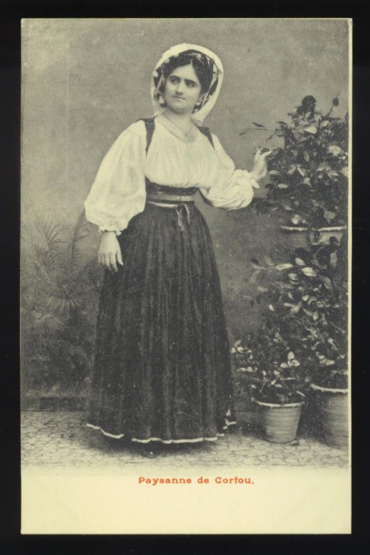 CORFU, GREECE ~ PEASANT WOMAN IN COSTUME, STUDIO POSE ~ c. 1902