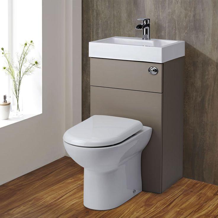 D-förmige Toilette mit Spülkasten und integriertem Waschbecken Steingrau - Image 2