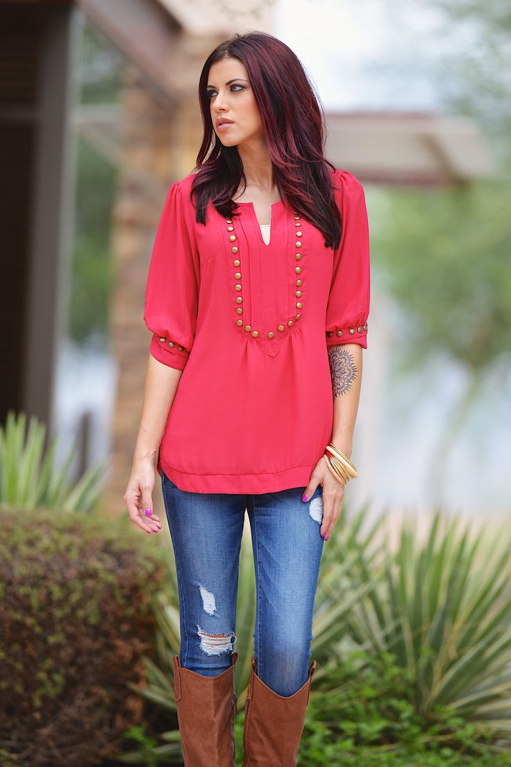 Every Mile A Memory Blouse - Hot Pink | Closet Candy Boutique