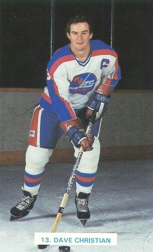 Dave Christian in the old Winnipeg Jets uniform.