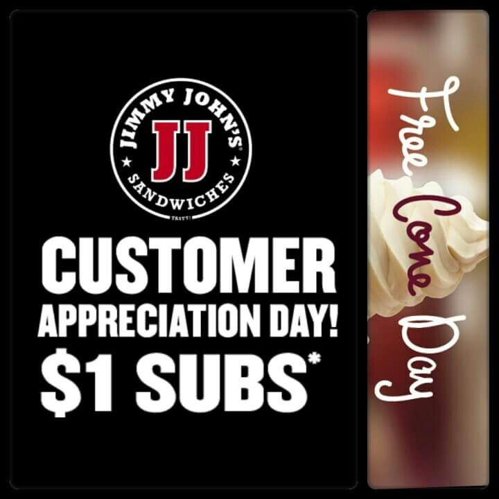 $1 Subs and FREE Ice Cream:  Thursday get your lunch and dessert for just a buck.  On Thursday April 21 participating Jimmy Johns are givingaway subs for just $1 that's right $1  Also on Thursday Carvel Ice Cream is giving away FREE Ice Cream Cones at participating locations.  For more information including participating locations and valid times visit our website or use the link below:  http://www.livelifehalfprice.com/activity-discounts/1-subs-at-jimmy-johns/