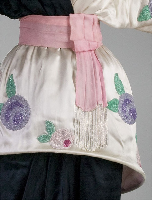 Black and white silk satin gown with glass bead embroidery (detail), by Paul Poiret, French, 1913.