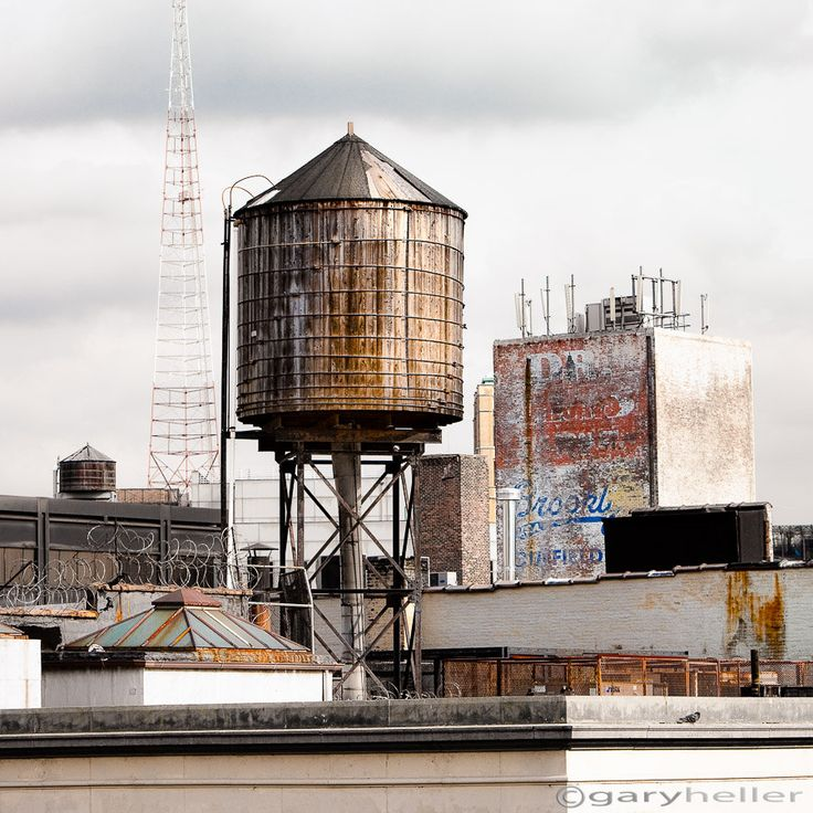 Water Tower, New York - Fine Art, Industrial Photography, Urban, Free Shipping, Old Building, Color Photography print
