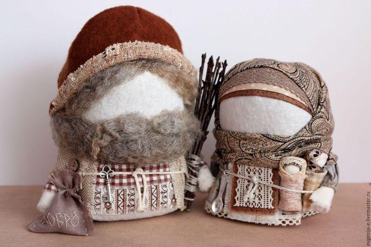 """Купить """"Крупеничка и Богач"""" - коричневый, оберег для дома, обереги в подарок, крупеничка, богатство, достаток, семья"""
