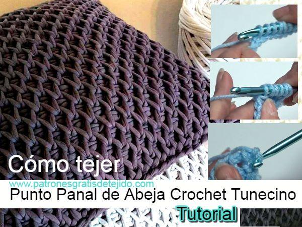 Como tejer puntada colmena en crochet tunecino