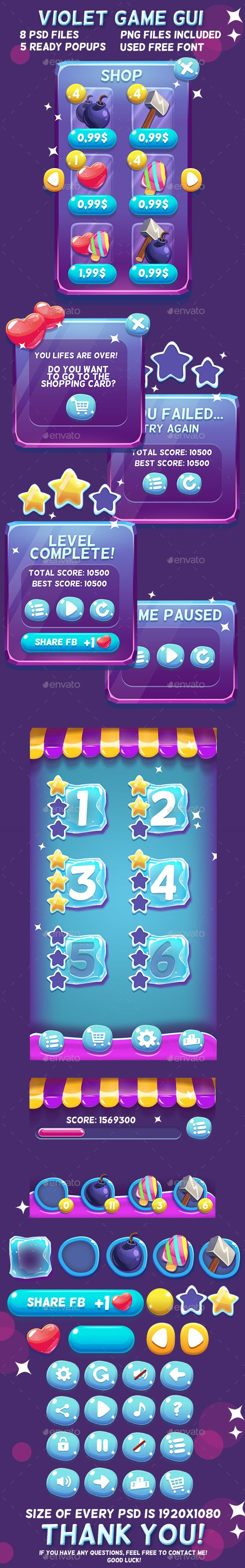 Violet Cartoon GUI Template PSD, Transparent PNG. Download here: http://graphicriver.net/item/violet-cartoon-gui/16882216?ref=ksioks