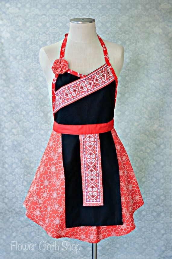 Valentine Inspired Heart Apron in red white black / Hmong Inspired