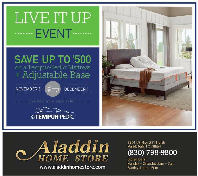 Shop LOCAL In Marble Falls At Aladdin Home Store LIVE IT UP EVENT   Going