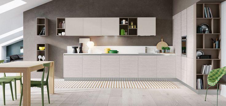 Cucina Moderna - Cloe  Finitura Rovere Atlanta | Pensili Perla | Elementi a Giorno Biscotto | Zoccolo Inox http://www.arredo3.it/cucine-moderne/cucina-moderna-cloe/