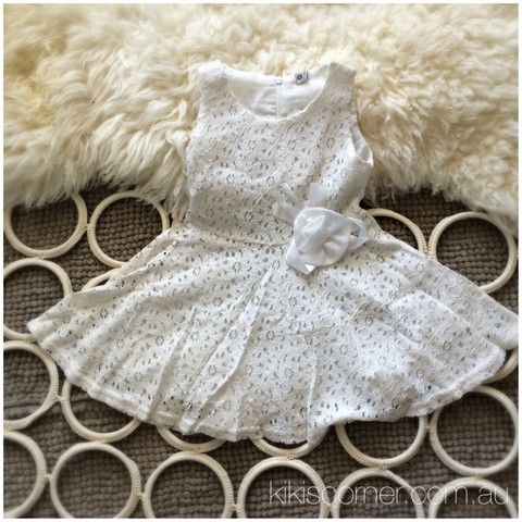 Sleeveless lace eyelet dress – Kiki's Corner. $19 + Postage. Available in Pink and White. Sizes 6m-5y. #whitedress #girlsdress #lacedress #eyeletdress #christening #wedding #namingday