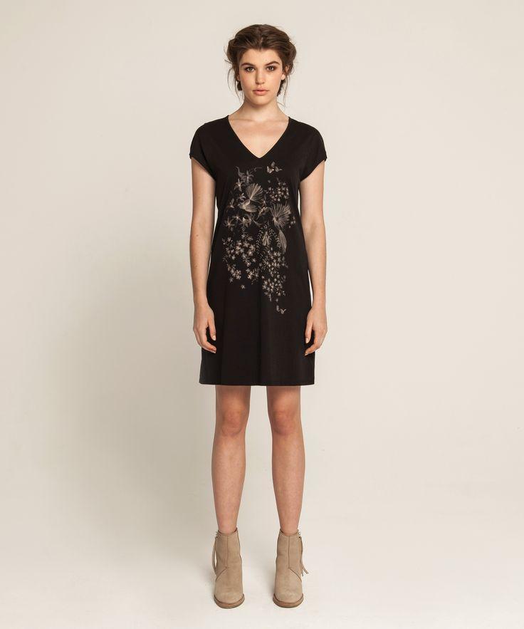 Raglan T Dress - Piwakawaka - Black